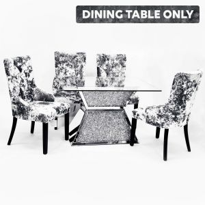 Mirrored Crushed Crystal Dining Table (Milano) - Table Alone