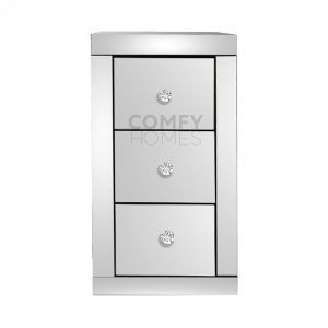 Mirrored 3 Drawer Bedside Cabinet