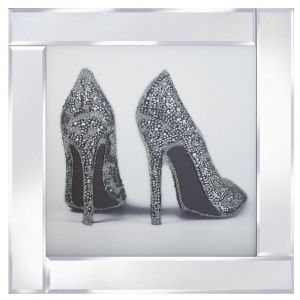 Silver Glitter Shoes Mirrored Picture Frame