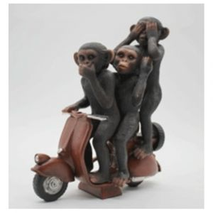 Wise Monkeys On Scooter Ornament