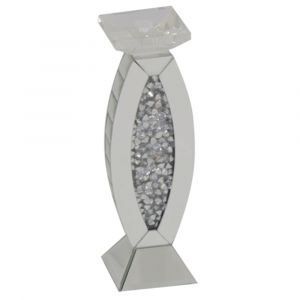 Mirrored Crushed Crystal Oval Large Candle Holder (Milano)