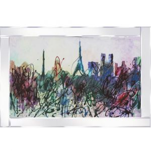 Abstract Paris Skyline Mirrored Picture Frame