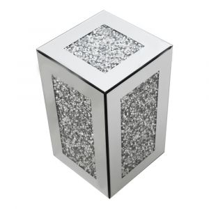 Mirrored Crushed Crystal Small Cube Pedestal (Milano)
