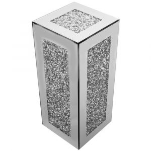 Mirrored Crushed Crystal Large Cube Pedestal (Milano)