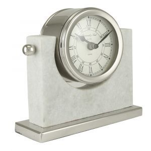 Small White Marble And Nickel Table Clock
