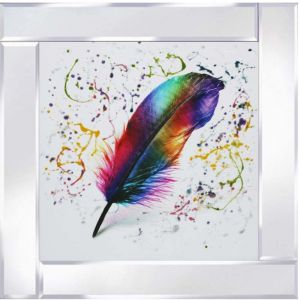 Multicoloured Feather Mirrored Picture Frame