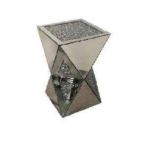 Mirrored Crushed Crystal Triangle Pedestal (Milano)