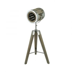 Hollywood Style Wooden Tripod Table Lamp