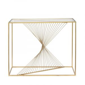 Lela Gold Metal & Clear Glass Console Table