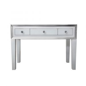 White Glass Transparent Top Dressing Table (Marco)