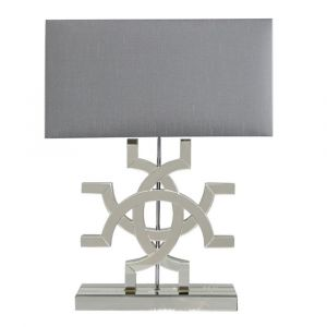 Athos Gold Glass Table Lamp Grey Shade