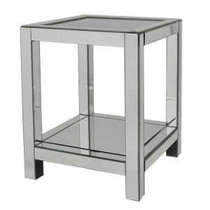 Gunmetal Mirrored Crushed Crystal End Table