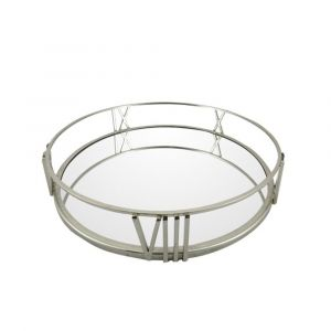 30cm Roman Numeral Metal and Mirror Tray