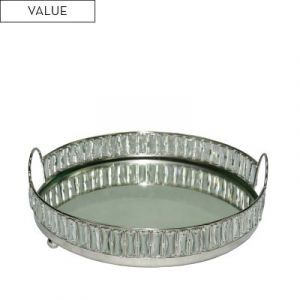 Round Large Nickel and Mirror Crystal Tray