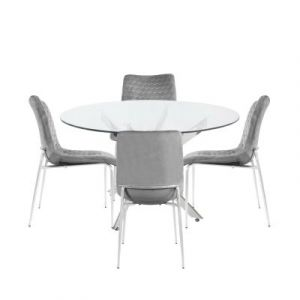 Neve Round Dining Table And 4  Zida Chairs