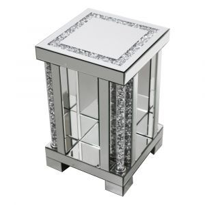 Mirrored Crushed Crystal Small Tube Pedestal (Milano)