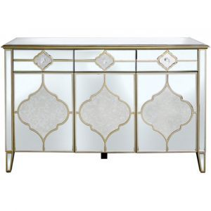Mirrored Masira 3 Door Large Sideboard