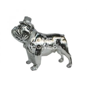 Silver Electroplated Standing Bulldog Ornament With Top Hat