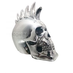 Silver Electroplated Skull With Mohawk Ornament