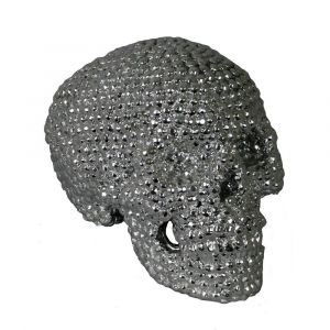 Silver Electroplated Rounded Stud Skull Ornament