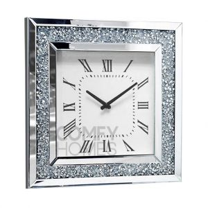 Mirrored Crushed Crystal Square Wall Clock (Milano)