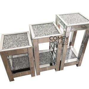 Mirrored Crushed Crystal Square Pedestal (Milano)