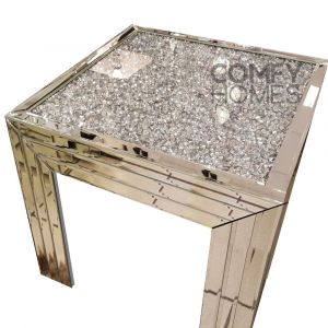Mirrored Crushed Crystal Square Table (Milano)