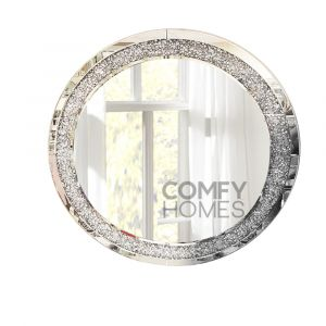 Crushed Crystal 90 X 90Cm Round Wall Mirror (Milano)