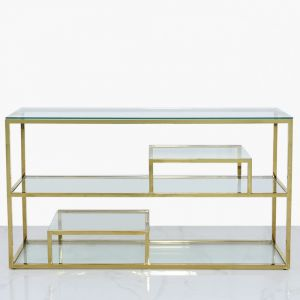 Harold 3 Tier Gold Console Table