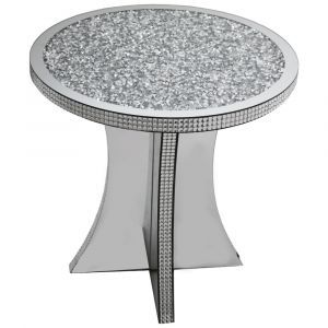 Mirrored Crushed Crystal Round Side Table (Milano)