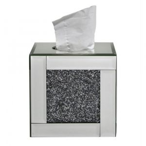 Mirrored Crushed Crystal Cube Tissue Box (Isabel)