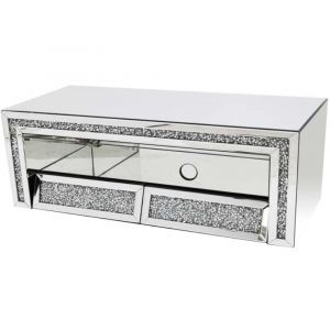 Mirrored Crushed Crystal Slanted Tv Stand (Milano)