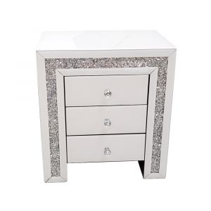 Crushed Crystal White Glass Bedside (Milano)