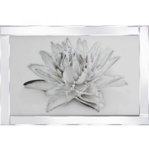 White Flower Mirrored Picture Frame