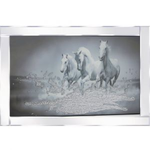 White Horses Mirrored Picture Frame