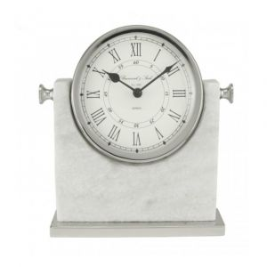 White Marble And Nickel Table Clock