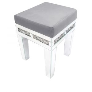 White Glass Crushed Crystal Dressing Table Stool (Milano) - Pre Order