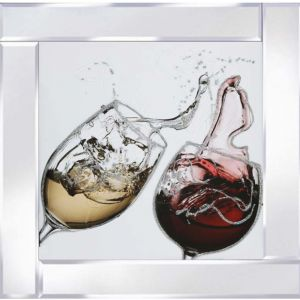 60 x 60cm Red And White Wine Cheers Mirrored Picture Frame