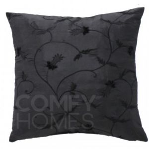 Black With Embroidered Foliage Cushion