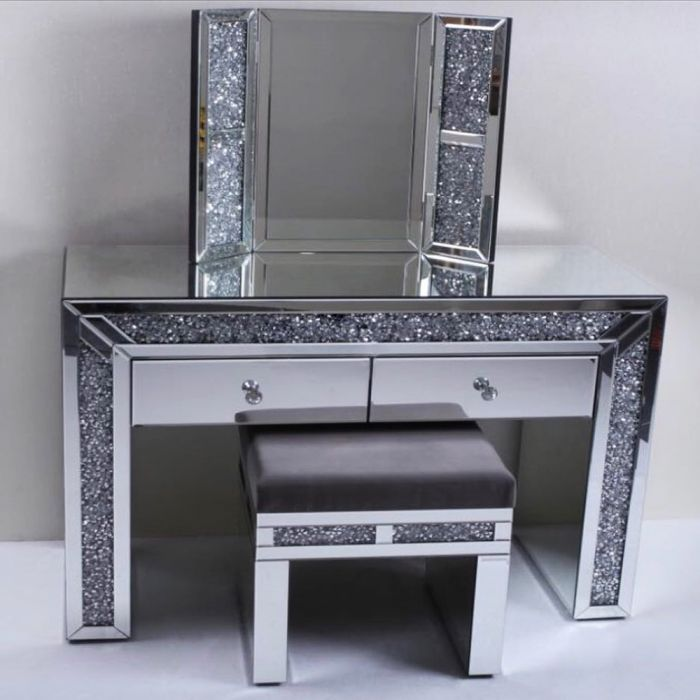 Mirrored Crushed Crystal Dressing Table, Dressing Table Set Mirrored