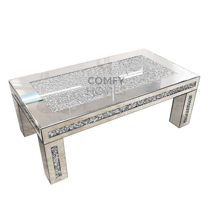Mirrored Crushed Crystal Coffee Table Milano
